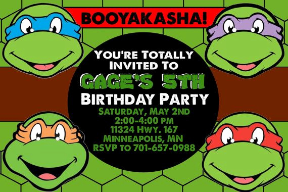 Ninja Turtle Invitation Templates Free Inspirational Teenage Mutant Ninja Turtles Birthday Invitations Template