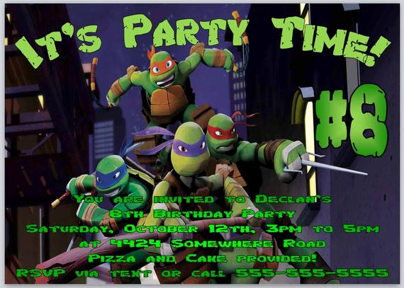 Ninja Turtle Invitation Templates Free New Items Similar to Teenage Mutant Ninja Turtles Birthday