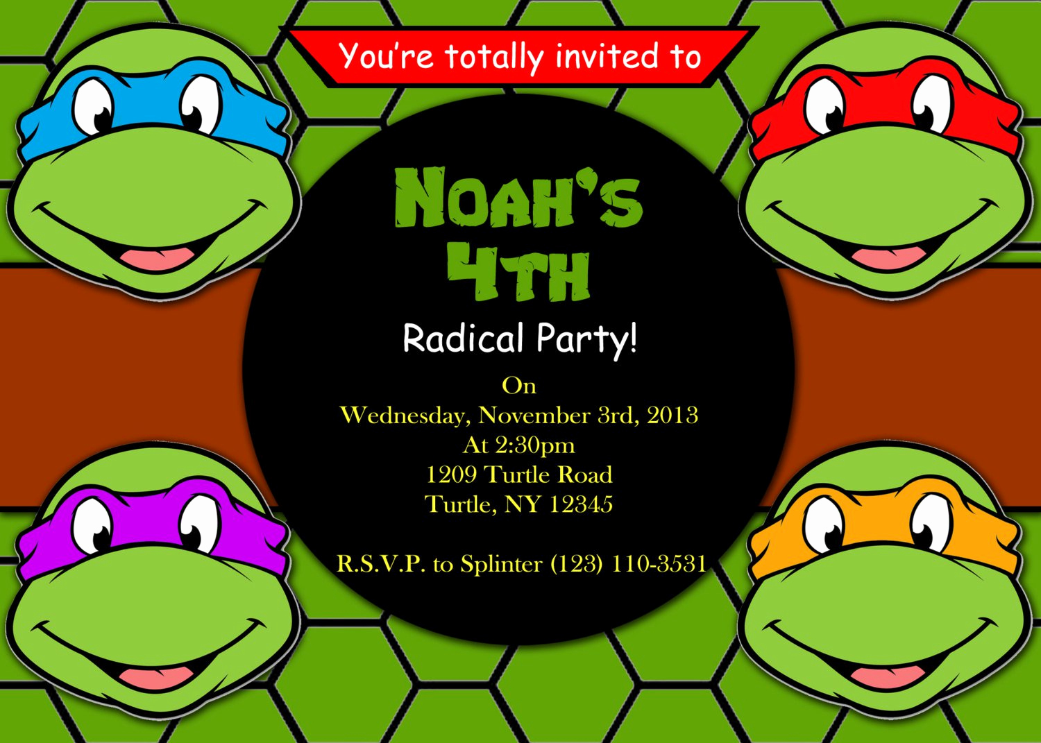 Ninja Turtle Invitation Templates Free Unique Ninja Turtle Birthday Invitations Printable Free