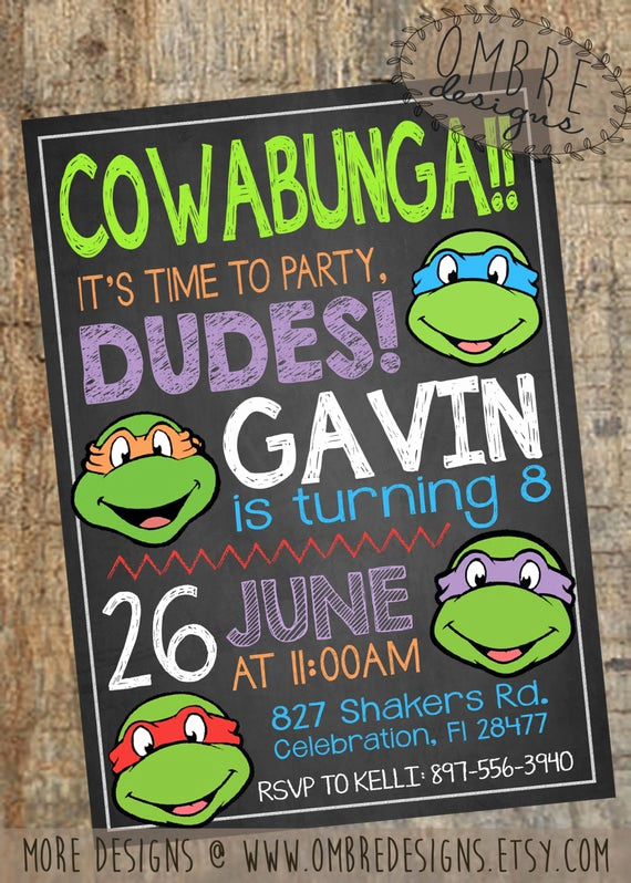 Ninja Turtle Invitation Templates Inspirational Ninja Turtles Invitation Tmnt Invite Chalkboard by