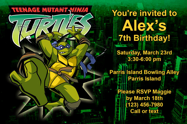 Ninja Turtle Invitation Templates Lovely Teenage Mutant Ninja Turtles Invitations Birthday Party