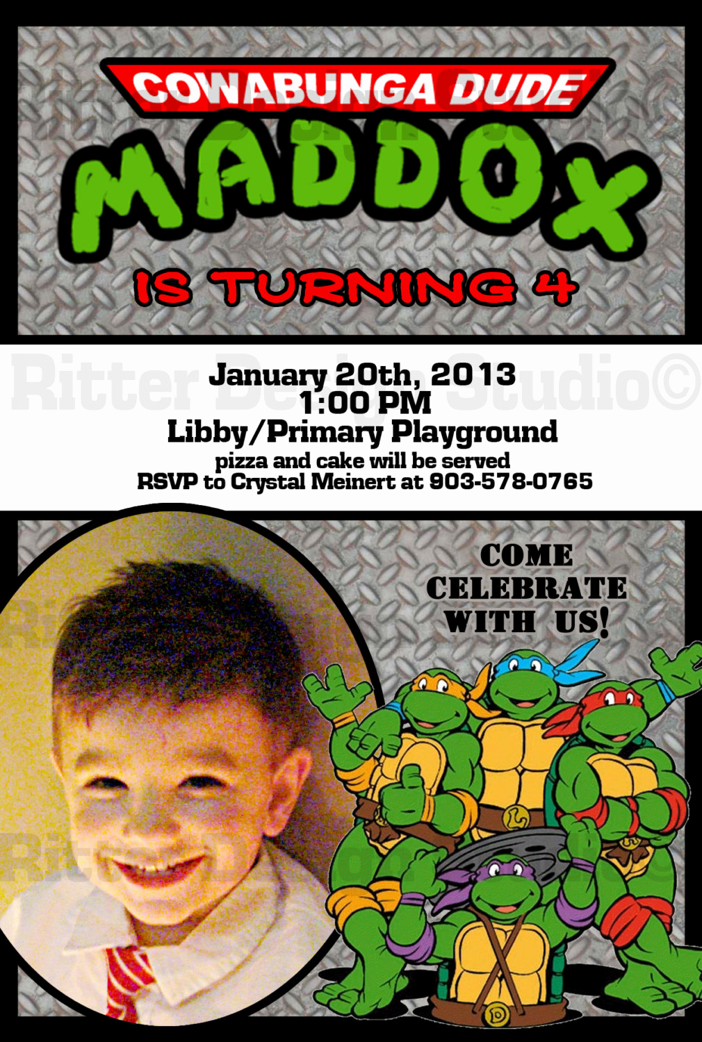 Ninja Turtle Invitation Templates New Ninja Turtle Birthday Invitation Printable by