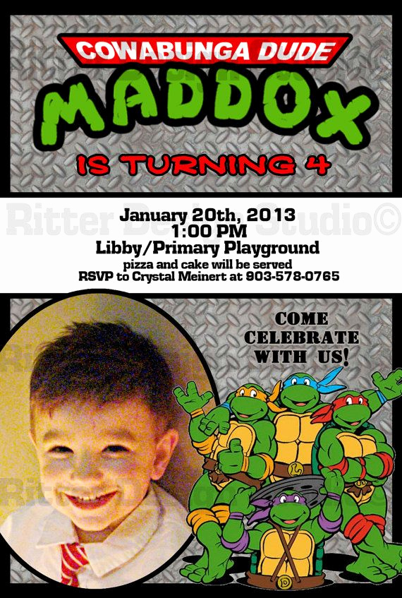 Ninja Turtle Invitation Templates Unique Free Printable Ninja Turtles Birthday Party Invitations