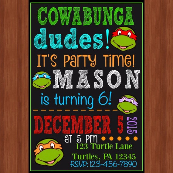 Ninja Turtles Birthday Invitation Awesome Ninja Turtle Birthday Party Invitation Ninja Turtles
