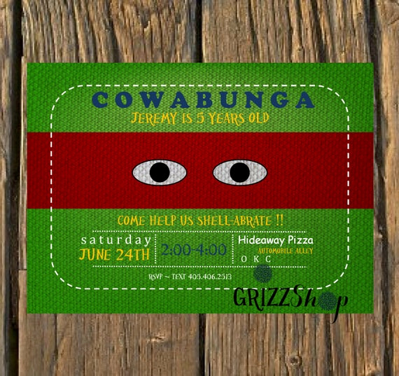Ninja Turtles Birthday Invitation Beautiful Ninja Turtle Birthday Invitation