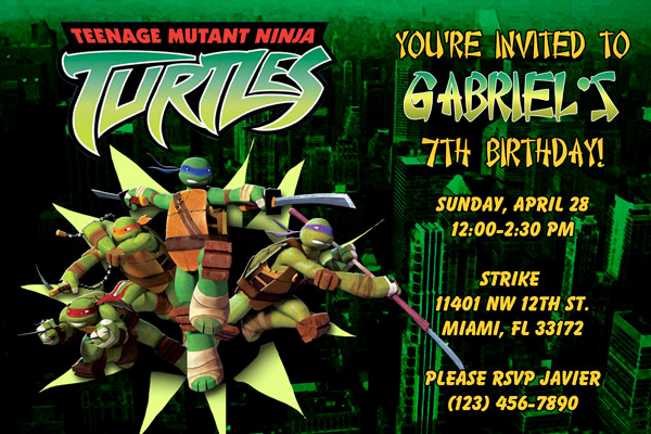Ninja Turtles Birthday Invitation Beautiful Teenage Mutant Ninja Turtles Invitations Birthday Party
