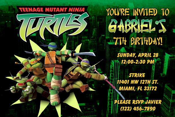 Ninja Turtles Birthday Invitation Beautiful Teenage Mutant Ninja Turtles Invitations Birthday Party