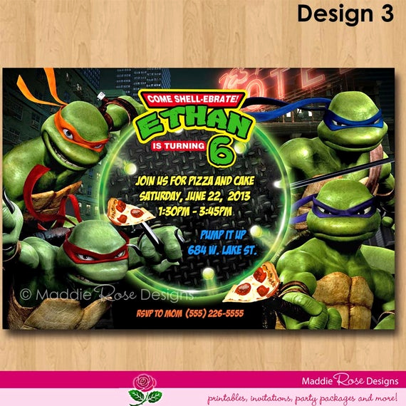 Ninja Turtles Birthday Invitation Best Of Items Similar to Teenage Mutant Ninja Turtles Invitation