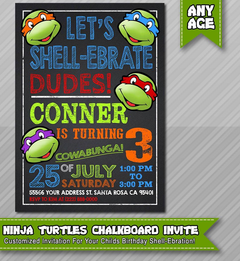 Ninja Turtles Birthday Invitation Inspirational Ninja Turtles Invitation Tmnt Invite Chalkboard by