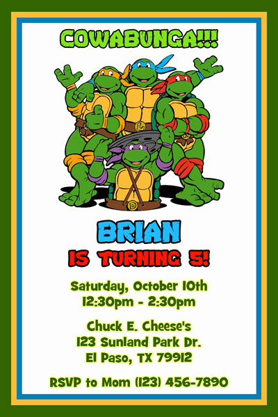 Ninja Turtles Birthday Invitation Lovely Teenage Mutant Ninja Turtles Birthday Invitations