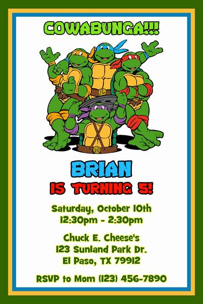 Ninja Turtles Birthday Invitation Lovely Teenage Mutant Ninja Turtles Birthday Invitations