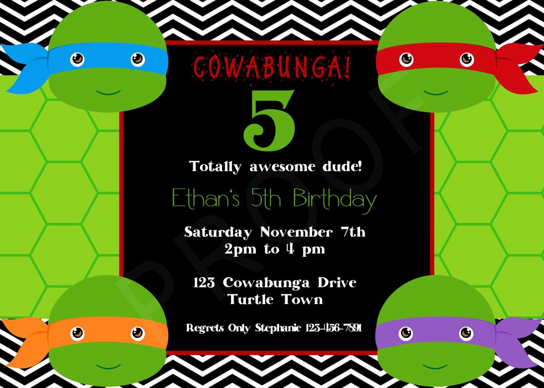 Ninja Turtles Birthday Invitation Luxury Teenage Mutant Ninja Turtles Birthday Party Invitations Free