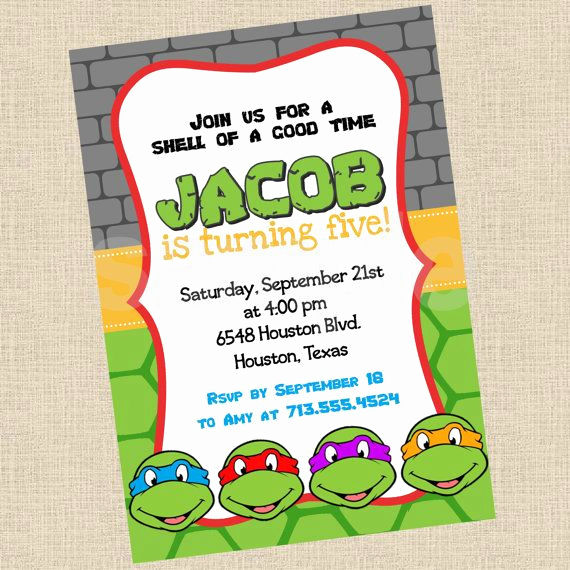 Ninja Turtles Birthday Invitation New Printable Diy Ninja Turtles Inspired Invitations Party