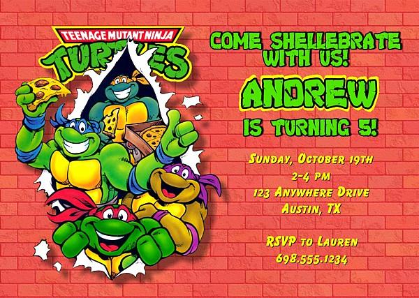 Ninja Turtles Birthday Invitation Templates Awesome Teenage Mutant Ninja Turtles Birthday Party Invitations