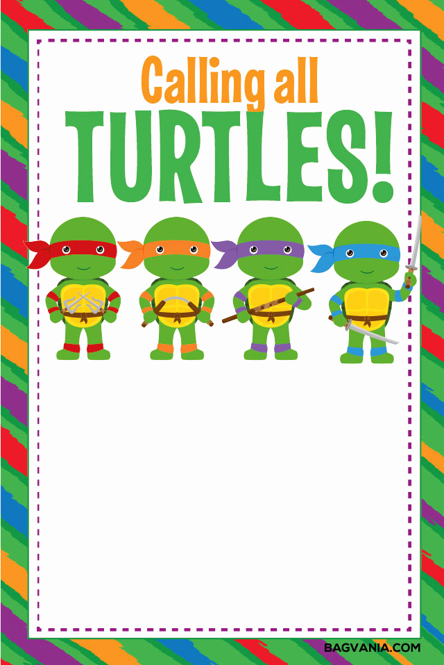 Ninja Turtles Birthday Invitation Templates Fresh Free Printable Ninja Turtle Birthday Party Invitations