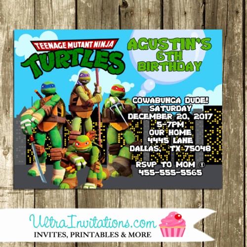 Ninja Turtles Birthday Invitation Templates Inspirational Teenage Mutant Ninja Turtle Invites Etsy Printable or