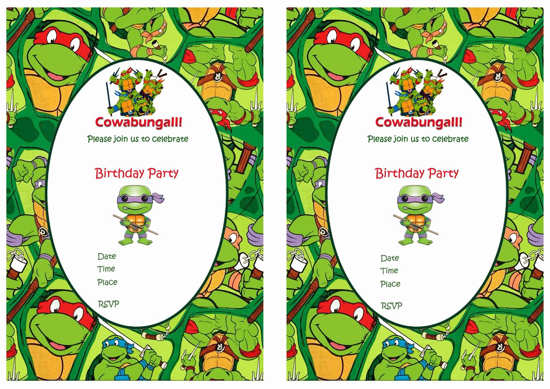 Ninja Turtles Birthday Invitation Templates Inspirational Teenage Mutant Ninja Turtles Birthday Invitations