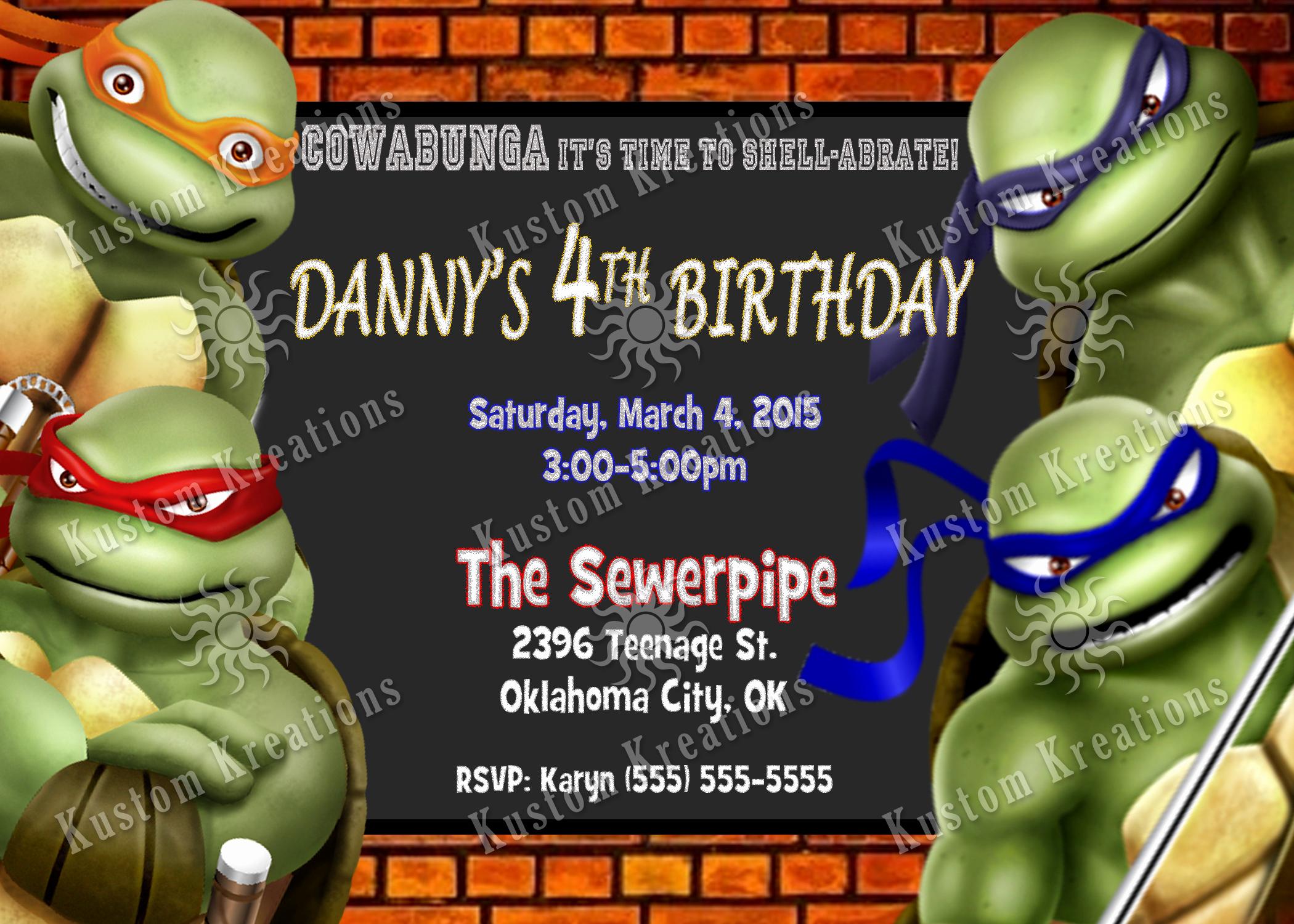 Ninja Turtles Birthday Invitation Templates Luxury Teenage Mutant Ninja Turtles Birthday Invitations 2014