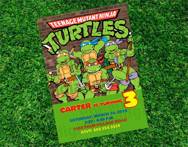 Ninja Turtles Birthday Invitation Templates Unique Ninja Turtles Birthday Party Invitation Templates