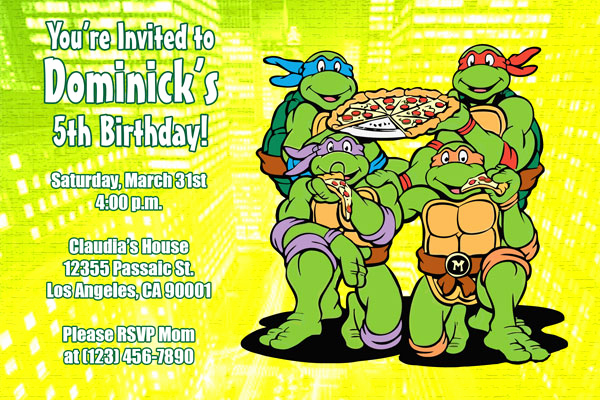Ninja Turtles Birthday Invitation Unique Teenage Mutant Ninja Turtles Birthday Invitations