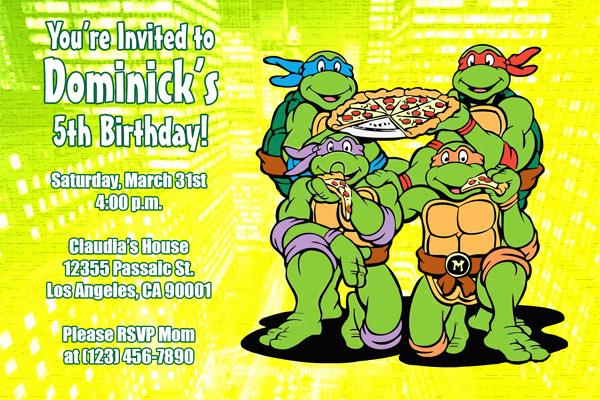 Ninja Turtles Birthday Invitation Unique Teenage Mutant Ninja Turtles Birthday Invitations
