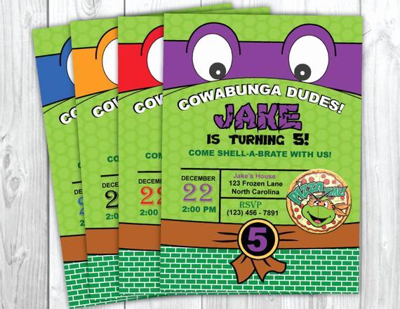 Ninja Turtles Birthday Invitation Unique Teenage Mutant Ninja Turtles Invitation by Yourmaineventprints