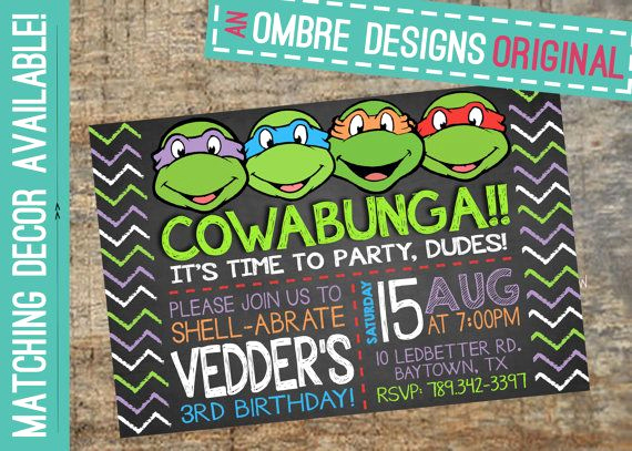 Ninja Turtles Invitation Ideas Beautiful Ninja Turtles Invitation Invite Your Guests to Your Ninja