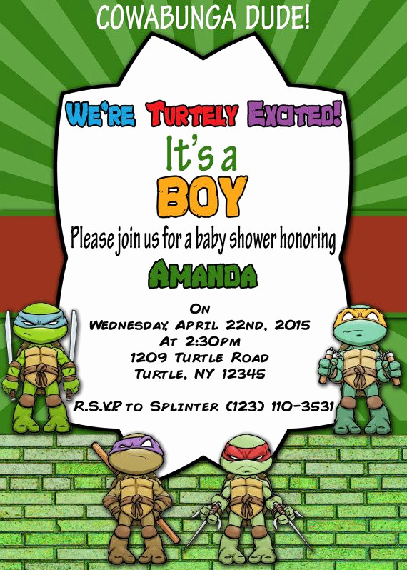 Ninja Turtles Invitation Ideas Elegant Printable Invitation Teenage Mutant Ninja Turtles by
