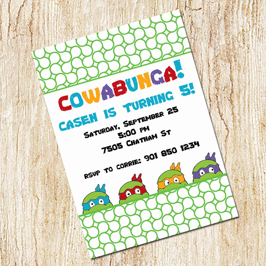 Ninja Turtles Invitation Ideas Fresh Ninja Turtles Invitation Boy S Birthday Digial File