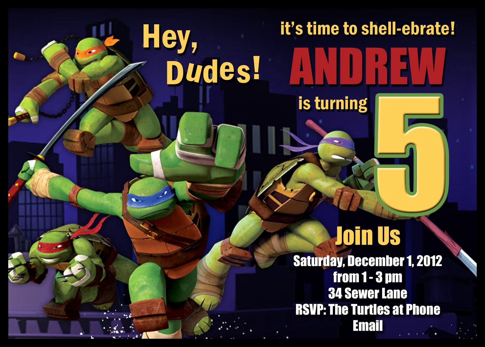 Ninja Turtles Invitation Ideas New Download Free Template Teenage Mutant Ninja Turtle
