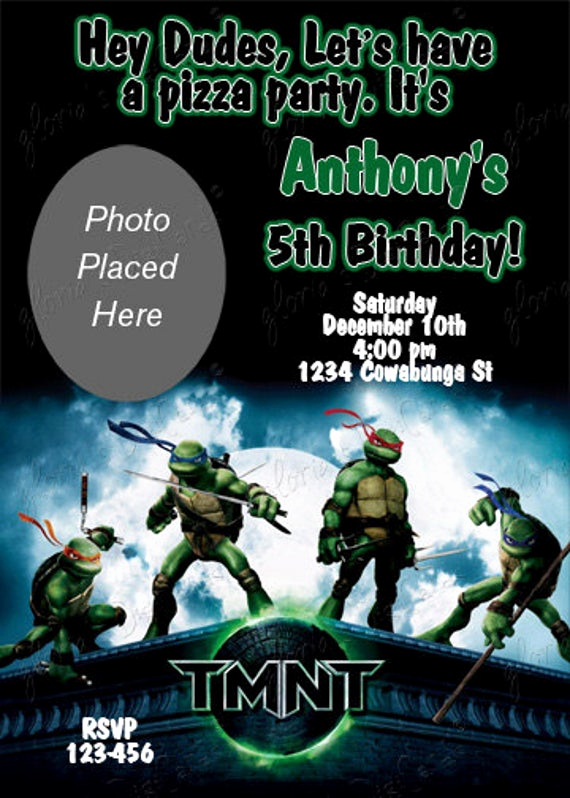 Ninja Turtles Invitation Template Beautiful Items Similar to Ninja Turtle Party Invitation by Gloria S