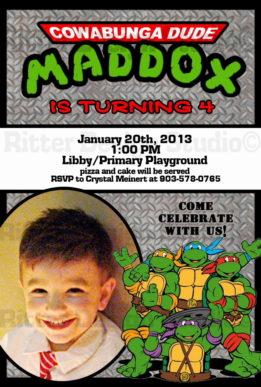 Ninja Turtles Invitation Template Beautiful Ninja Turtle Birthday Invitation Printable by