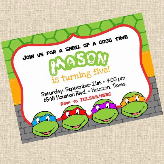 Ninja Turtles Invitation Template Elegant Printable Diy Ninja Turtles Inspired Invitations Party