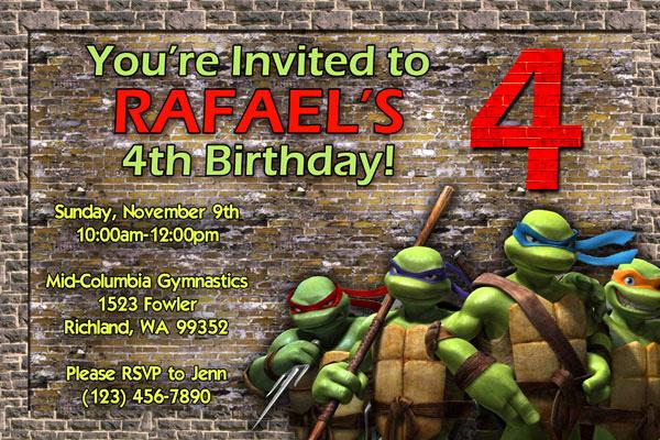 Ninja Turtles Invitation Template Lovely Teenage Mutant Ninja Turtles Invitations Birthday Party