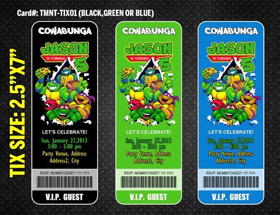Ninja Turtles Invitation Template Luxury Ninja Turtles Ticket Invitation Ninja Turtles Birthday