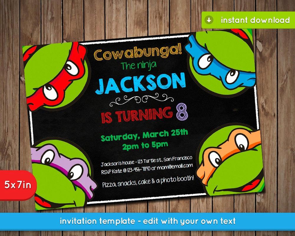 Ninja Turtles Invitation Template New Teenage Mutant Ninja Turtles Invitation Tmnt Printable