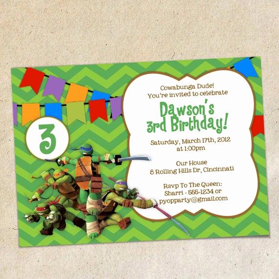 Ninja Turtles Invitation Template Unique Teenage Mutant Ninja Turtles Invitation Template Instant