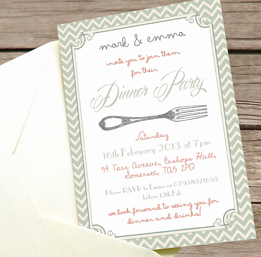 No Host Dinner Invitation Elegant Personalised Dinner Party Invitation by Precious Little