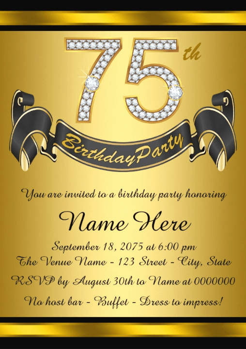 No Host Dinner Invitation Elegant the Best 75th Birthday Invitations and Party Invitation