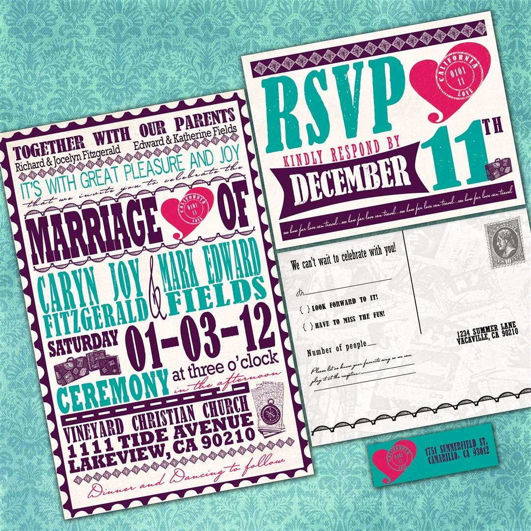 Non Traditional Wedding Invitation Wording Fresh Vintage Travel Poster Custom Wedding Invitation Suite with