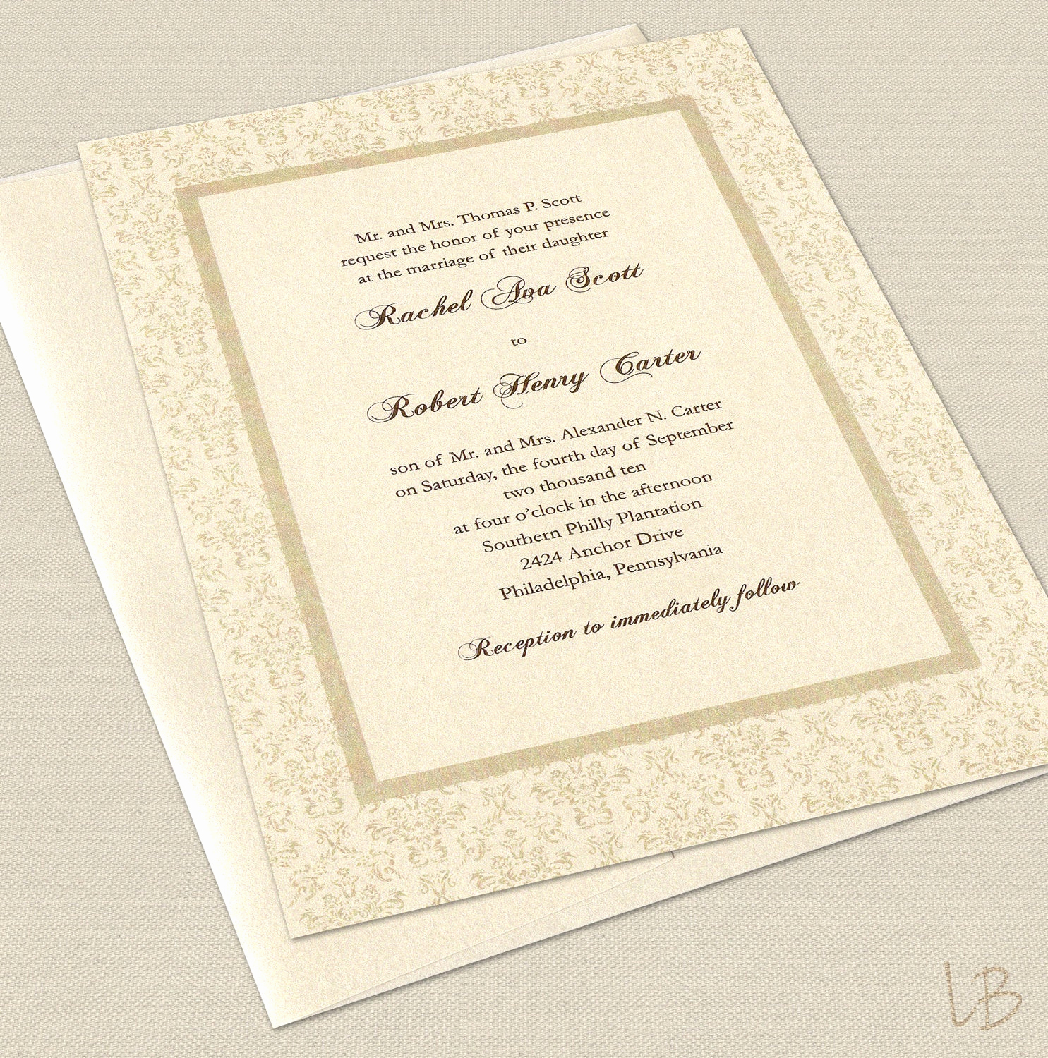 formal wedding invitation sample set