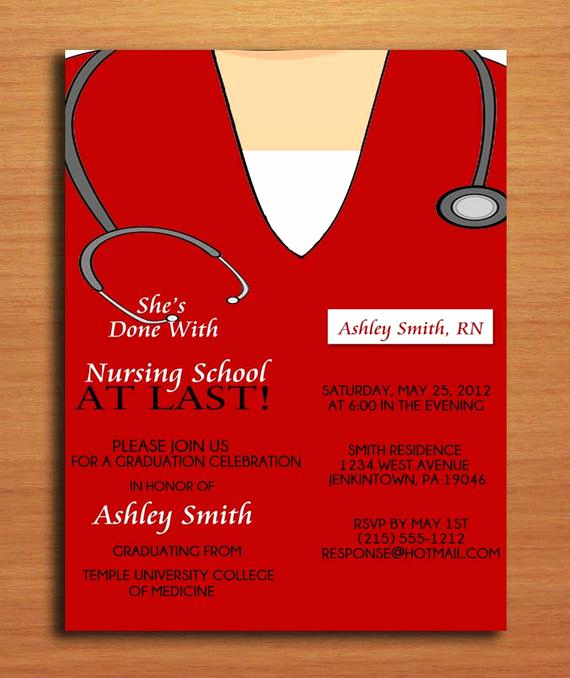 Nurse Graduation Invitation Template Awesome Items Similar to Scrub top Nursing Medical Degree