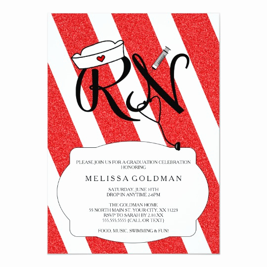 Nurse Graduation Invitation Template Awesome Rn Nurse Graduation Invites Fun Red Glitter Design