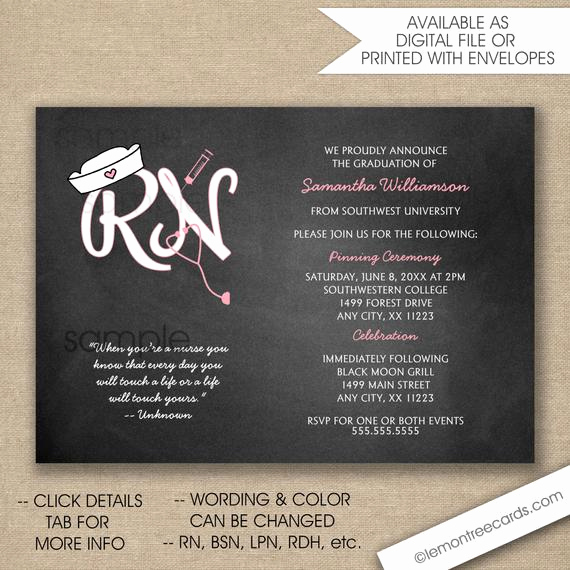 Nurse Graduation Invitation Template Beautiful Rn Nurse Pinning Ceremony Invitations Free Shipping Digital