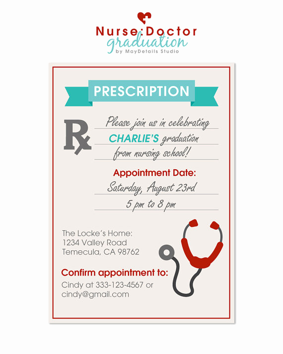 Nurse Graduation Invitation Template Inspirational Digital File Nurse Graduation Party Invitation Doctor