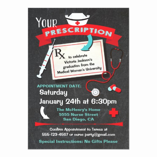 Nurse Graduation Invitation Template Lovely Nursing School Graduation Party Prescription 5x7 Paper
