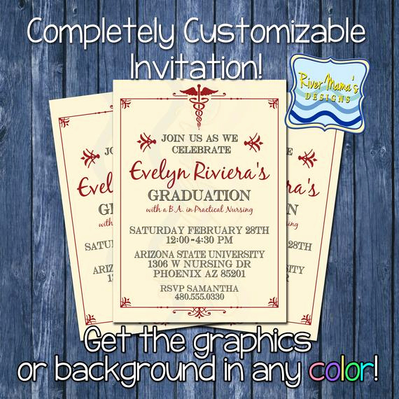 Nurse Graduation Invitation Template Unique Items Similar to Printable formal Nursing Graduation