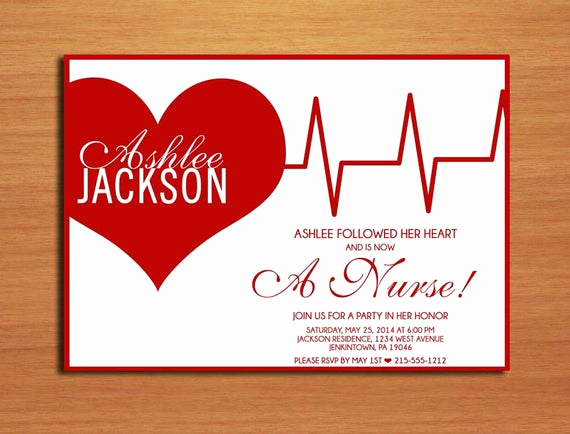 Nursing Graduation Invitation Templates Free Awesome Ekg Heart Nursing Medical Degree Graduation Party Invitation