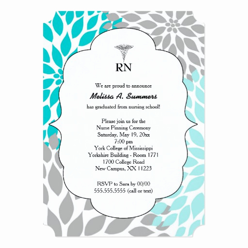 Nursing Graduation Invitation Templates Free Beautiful Rn Nurse Pinning Ceremony Invites Turquoise