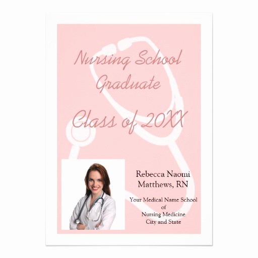 "Nursing Graduation Invitation Templates Free Elegant Pink White Nursing School Pgraduation Announcement 5"" X 7"